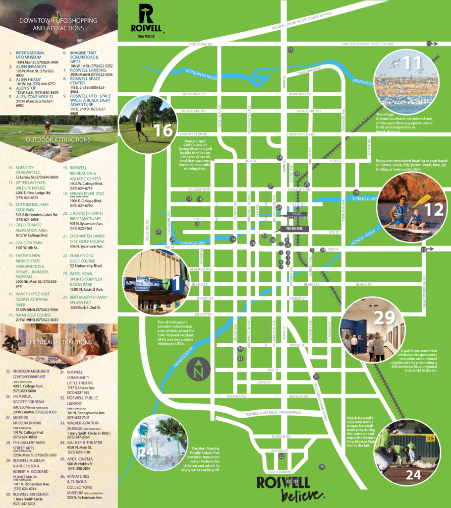 Roswell Visitor Guide Walking Map